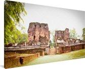 Zonlicht op de stenen van Polonnaruwa in Sri Lanka Canvas 80x40 cm - Foto print op Canvas schilderij (Wanddecoratie woonkamer / slaapkamer)