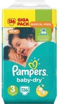 Pampers Baby Dry Luiers Maat 3 - 136 Stuks
