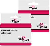 2x Go4inkt compatible met Brother letter tape cassette TZE-241 18mm Zwart-Wit