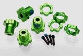 Wheel hubs, splined, 17mm (green-anodized) (4)/ wheel nuts,