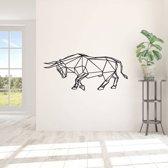 Muursticker Origami Stier -  Zwart -  120 x 52 cm  - Muursticker4Sale