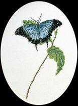 Thea Gouverneur Borduurpakket 1024 Vlinder blauw - Linnen stof