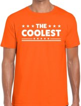 The Coolest tekst t-shirt oranje heren - heren shirt The Coolest - oranje kleding 2XL