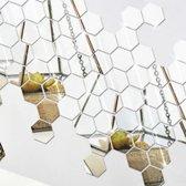 Hexagon Wand Spiegel - Wandspiegel - Spiegelsticker - Zilver - 12 stuks - Acryl - 70 x 40 x 80 mm - Decorsticker - Woonkamer Decoratie Spiegelende Sticker