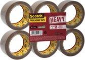 Scotch Verpakkingstape, Heavy -Flat Pack/6 rollen, Bruin, 50 mm x 66 m, pp 237