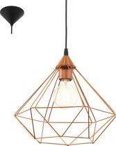 EGLO Vintage Tarbes - Hanglamp - Draadlamp - 1 Lichts - Ø325mm. - Zwart - Koperkleurig