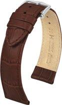 Hirsch Horlogeband -  Louisianalook Donkerbruin - Leer - 22mm