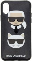 Karl Lagerfeld Backcover hoesje Zwart - Karl + Choupette - TPU - iPhone X-Xs  - Siliconen rand