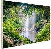 Foto van regenwoud met waterval Hout 120x80 cm - Foto print op Hout (Wanddecoratie)