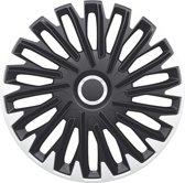 AutoStyle 4-Delige Wieldoppenset Quantum Pro 15-inch zilver/zwart + chroom ring
