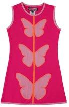 Happy Nr. 1-jurk, zomerjurk-kleur: roze, fuchsia, oranje-Vlinders-maat 140