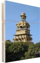 Toren van Mandir Palace Hotel in Jaisalmer Vurenhout met planken 40x60 cm - Foto print op Hout (Wanddecoratie)