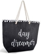 Luna Cove Day Dreamer Strandtas Shopper Canvas Jute Zwart