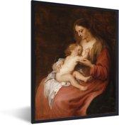 Foto in lijst - Virgin and Child - Schilderij van Anthony van Dyck fotolijst zwart 30x40 cm - Poster in lijst (Wanddecoratie woonkamer / slaapkamer)