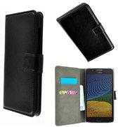 Zwart Wallet Bookcase P Hoesje voor Motorola Moto G5