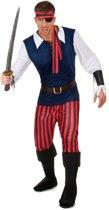Rood en zwart gestreept piratenkostuum voor mannen - Verkleedkleding
