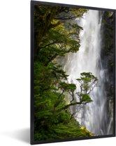 Foto in lijst - Waterval in het Nationaal park Arthur's Pass op South-Island fotolijst zwart 40x60 cm - Poster in lijst (Wanddecoratie woonkamer / slaapkamer)