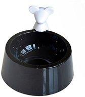Cat Pet Food en Water Bowl zwart plastic met witte muis