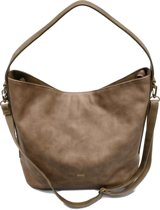 DAVID JONES Omhang Hand & Schoudertas Trendy Fashion Tas Taupe Bruin