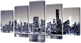 Canvas muurdruk set monochroom New York skyline 100 x 50 cm