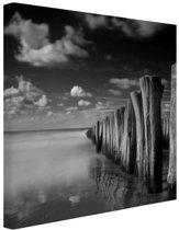 Stormachtig weer zwart-wit  Canvas 80x60 cm - Foto print op Canvas schilderij (Wanddecoratie woonkamer / slaapkamer)