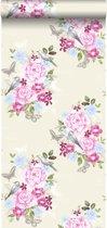 HD vliesbehang bloemen en vogels pastel - 138119 ESTAhome.nl