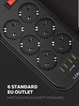 Premium Stekkerdoos | Contactdoos met 4USB ingangen | Verdeeldoos | 2M Snoer | Aan/Uitschakelaar | Geschikt voor Apple / Samsung / LG / Huawei / HTC | Zwart