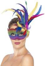"""""""Regenboog carnavalsmasker met veren voor vrouwen - Verkleedmasker - One size"""""""