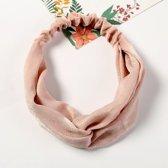 Fluwelen/satijnen haarband, roze