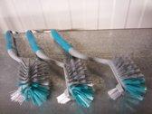 Afwasborstel 26 x 7 x 7 cm, blauw / grijs, set van 3 borstels