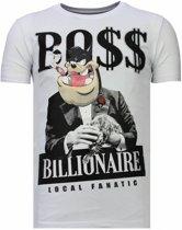 Local Fanatic Billionaire Boss - Rhinestone T-shirt - Wit - Maten: XXL