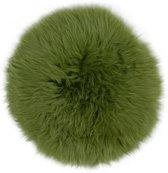 Stoelpad - groen rond - 34 cm - 100% schapenvacht - stoelzitting