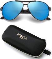 Piloten Zonnebril – Fenchí Aviator Serie Blauw Flash – Met UV400 en Polarisatie Filter – Z76