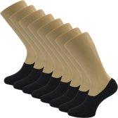 8 Paar Sneaker Sokken - Kousenvoetjes Footies - Steps Kleur Zwart - Maat S/M maat 35-38