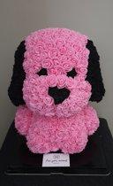 Love teddy beer hond vorm van roze kunst rozen 40cm met geschenkdoos. cadeau / geschenkdoos / kunstrozen / hond / kunstvormen / liefde / relatie