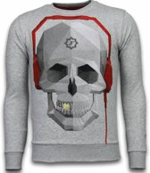 Local Fanatic Skull Beat - Rhinestone Sweater - Grijs - Maten: XXL