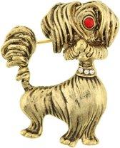 Behave® Broche hond goud kleur 4,5 cm