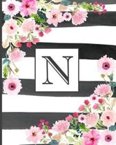 N: Pretty Monogram Initial Letter N Lined Notebook for Women or Girls to Write In - Black & White Stripes with Floral Des