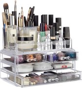 relaxdays make-up organizer - tweedelig - cosmetica opbergdoos