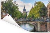 Brug over de Prinsengracht in Amsterdam Tuinposter 60x40 cm - klein - Tuindoek / Buitencanvas / Schilderijen voor buiten (tuin decoratie)