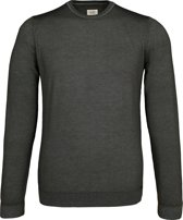 OLYMP Level 5 - heren trui wol - O-hals olijfgroen (Slim Fit) -  Maat M