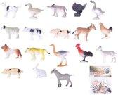Plastic speelgoed figuren boerderij dieren 24 stuks - kleine speelfiguren voor kinderen