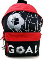Run Away Goal! VOETBAL Rugzak Rugtas Schooltas Zwart Rood met Sleutelhanger