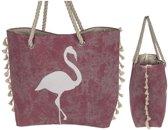 Roze flamingo strandtas 48 x 34 cm