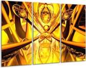 Glasschilderij Abstract   Geel, Goud, Bruin   120x80cm 3Luik   Foto print op Glas    F000159