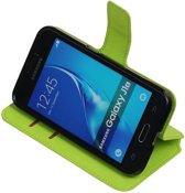 Groen Samsung Galaxy J1 2016 TPU wallet case booktype hoesje HM Book