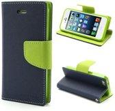 Original Mercury Goospery wallet case iPhone 5 5s SE Donkerblauw Groen portemonnee lederen hoesje