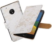 BestCases.nl Motorola Moto G5 Plus Lace Effen booktype hoesje Wit