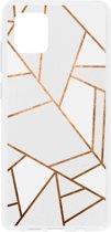 Design Backcover Samsung Galaxy Note 10 Lite hoesje - Grafisch Wit / Koper