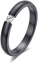 Montebello Ring Batis - Dames - 316L Staal - Zirkonia - maat 58 - 18.5